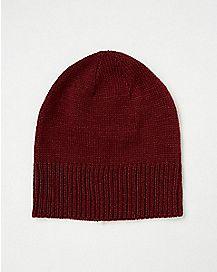 Maroon Long Slouchy Beanie Hat