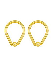 Gold-Plated Teardrop Captive Rings - 14 Gauge