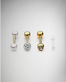 CZ Gold Plated Tongue Ring and Retainer 4 Pack - 14 Gauge