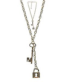Gold Key and Lock Necklace