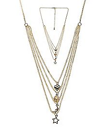 Gold Multichain Charm Necklace