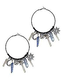 Sun and Moon Hoop Earrings