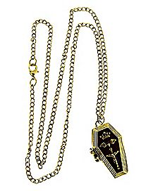 Gold-Plated Hinged Coffin Necklace