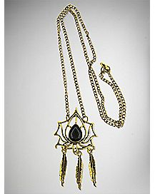 Gold-Plated Lotus Dreamcatcher Necklace