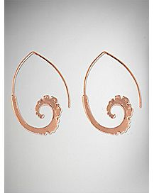 Rose Gold-Plated Spiral Dangle Earrings