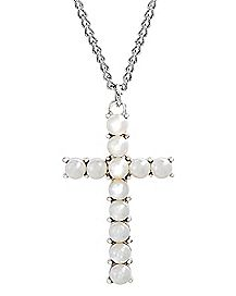 Gold-Tone Pearl-Effect Cross Necklace