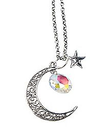Saturn Moon Charm Necklace