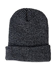 Black Cuff Slouchy Beanie Hat
