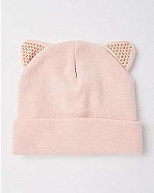 Blush Pink Cat Ear Beanie Hat