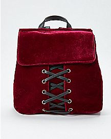 Burgundy Velvet Mini Lace Up Backpack
