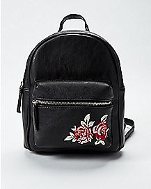 Black Rose Mini Backpack