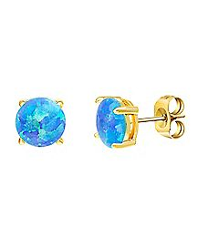 Gold-Plated Blue Opal-Effect Stud Earrings - 20 Gauge