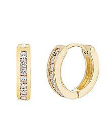 CZ Huggie Hoop Earrings - 20 Gauge