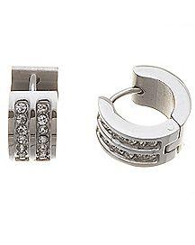 CZ Brass Plated Huggie Earrings
