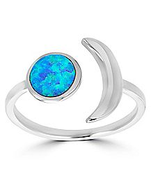 Opal-Effect Silver Plated Moon Ring