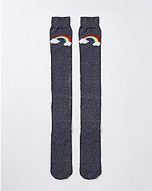 Gray Rainbow Over the Knee Socks