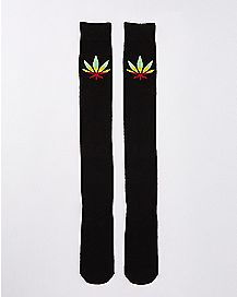 Black Rasta Leaf Over the Knee Socks