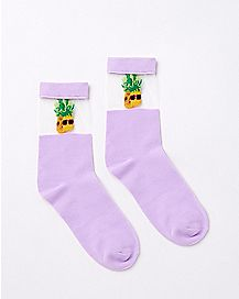 Sheer Top Pineapple Crew Socks