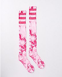 Pink Athletic Stripe Tie Dye Over The Knee Socks