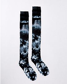 Black Athletic Stripe Tie Dye Over The Knee Socks