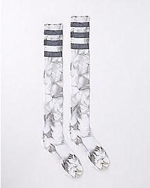 Athletic Stripe Gray Tie Dye Over the Knee Socks