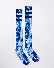 Athletic Stripe Blue Tie Dye Over the Knee Socks