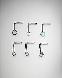 Multi-Pack L Bend Nose Rings 6 Pack - 20 Gauge