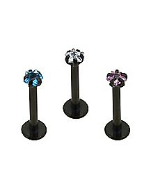 Matte-Blackplated Star CZ Labret Rings 3 Pack - 16 Gauge
