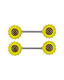 Sunflower Nipple Barbells - 14 Gauge