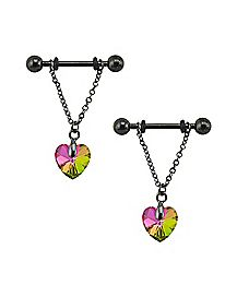 Prism Heart Dangle Nipple Barbells - 14 Gauge