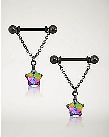 Star Dangle Barbell Nipple Rings 1 Pair - 14 Gauge