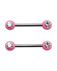 Pink Gem Barbell Nipple Rings - 14 Gauge