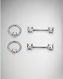 Blue Cz Nipple Rings and Nipple Barbells 2 Pair - 14 Gauge