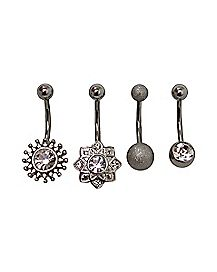 Multi-Pack Belly Rings 4 Pack - 14 Gauge