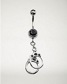 Black CZ Handcuff Dangle Belly Ring - 14 Gauge