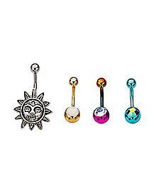 Multicolor Sun Belly Ring 4 Pack - 14 Gauge