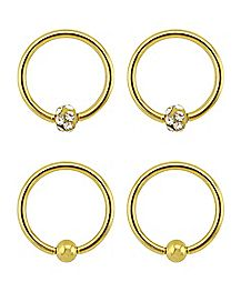 Goldplated CZ Captive Rings 4 Pack - 16 Gauge