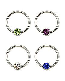 Multi-Color CZ Captive Rings 4 Pack - 16 Gauge