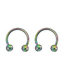 Rainbow CZ Horseshoe Rings 1 Pair - 16 Gauge