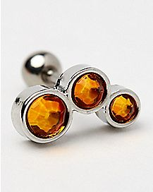 Topaz-Effect Triple Stone Cartilage Stud - 16 Gauge