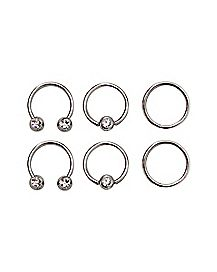 Multi-Pack Horseshoe and Captive Rings 6 Pack - 16 Gauge