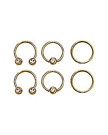 Goldplated Horseshoe and Captive Rings 6 Pack - 16 Gauge