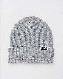 Gray Fuck Beanie Hat