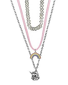 Rainbow Unicorn Necklace 3 Pack