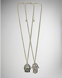 Buddha Hamsa Hand Necklace 2 Pack
