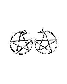 Pentagram Hoop Earrings