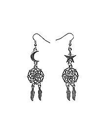 Star Moon Dreamcatcher Dangle Earrings