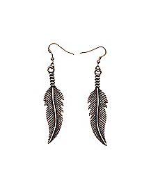 Copper-Tone Feather Dangle Earrings