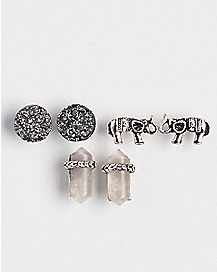Multi-Pack Elephant Stud Earrings - 3 Pair