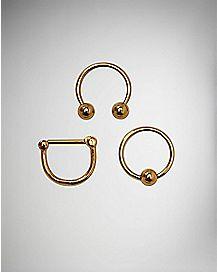 Clicker Septum and Hoop Nose Ring 3 Pack - 14 Gauge